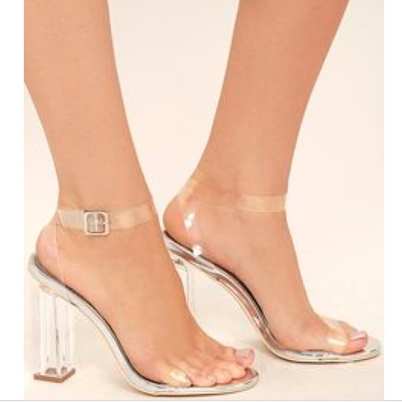 shoes for cheap selected material 100% satisfaction guarantee Steve Madden Clear Ankle Strap Block Heel Sandals